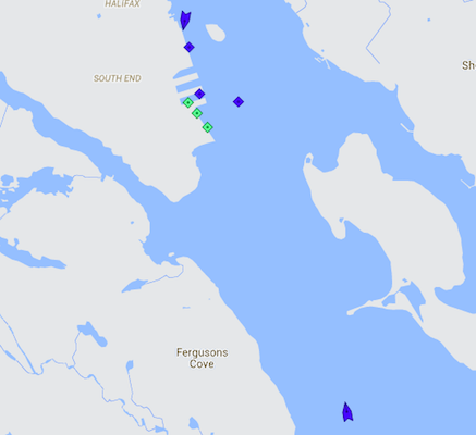 Halifax Harbour at 8:25am Thursday. The blue icons are cruise ships; from top to bottom: Veendam, Queen Mary 2, Crystal Symphony, Silver Whisper, and Carnival Spledor. Map: marinetraffic.com