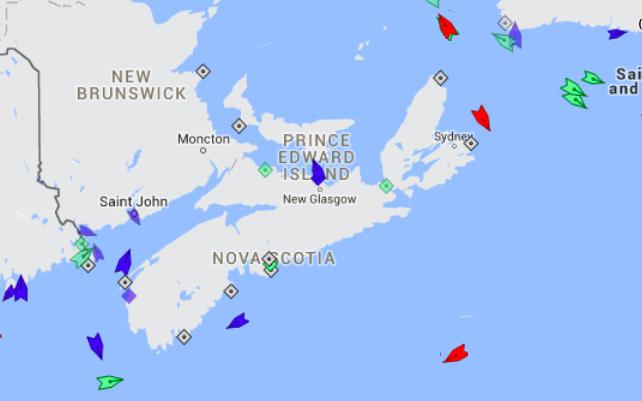 The seas in the Maritimes, 8:45am Thursday. Map: marinetraffic.com