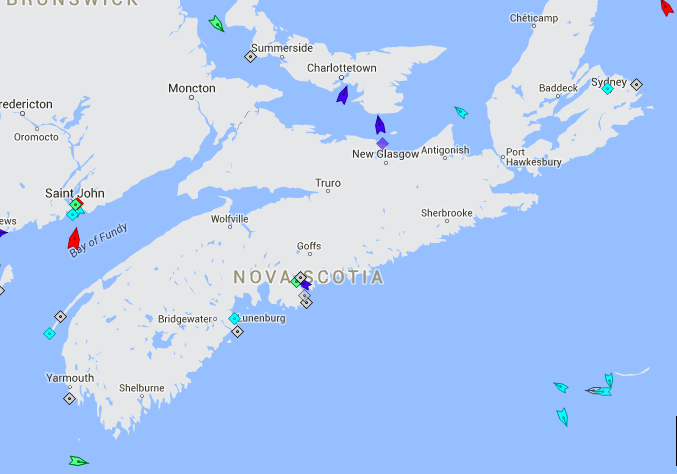 The seas around Nova Scotia, 9am Monday. Note the heavy traffic in the Sable gas field. Map: marinetraffic.com