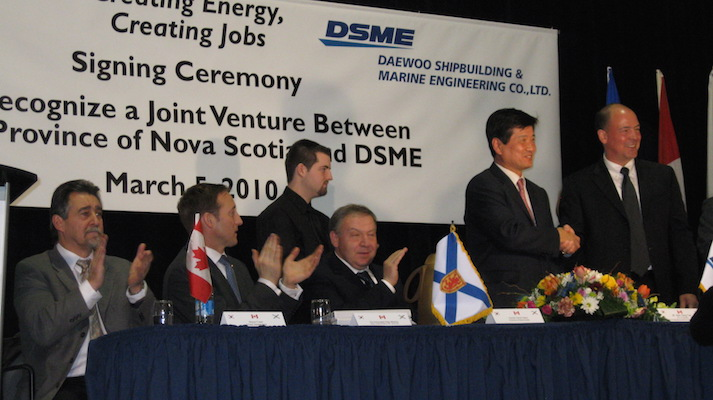 Peter MacKay and Darrell Dexter applaud while their governments' deals with Daewoo is signed in 2010. Photo: PeterMacKay.ca