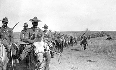 """Second Canadian Mounted Rifles in the Transvaal, February or March 1902. This photograph shows something of the fatiguing, mostly fruitless work involved in chasing down the small bands of elusive Boer guerrillas,"" wrote Chris Madsen."