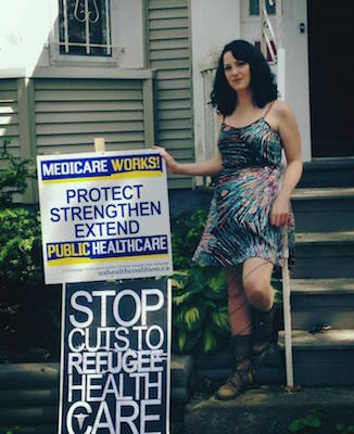 Gillian Zubizarreta advocates for refugee health care. Photo: Facebook