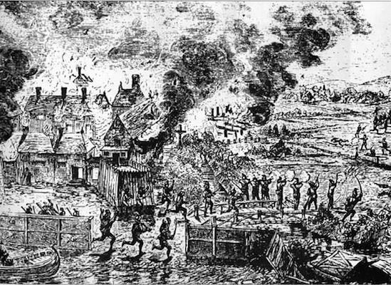 Incendie de Port-Royal à la suite de l'attaque de Samuel Argall en 1613. Source: An illustrated history of Nova Scotia