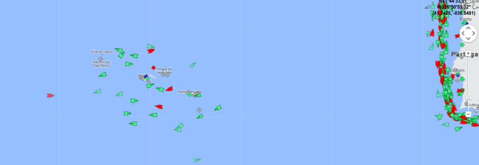One of the oddities of international shipping is how so many of the trans-atlantic shipping lines seem to converge on the Azores, bringing a collection of ships together. Map: marinetraffic.com