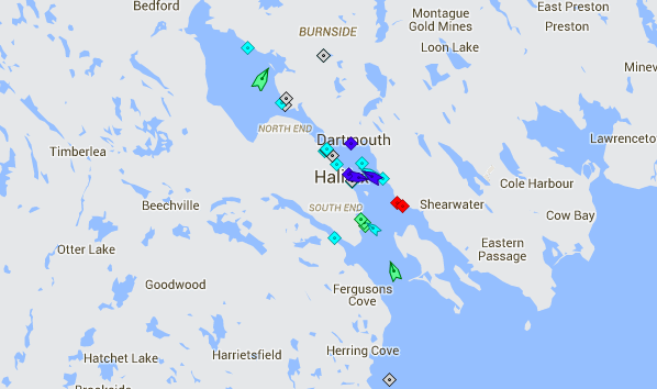 Halifax Harbour, 8:45am Friday. Map: marinetraffic.com
