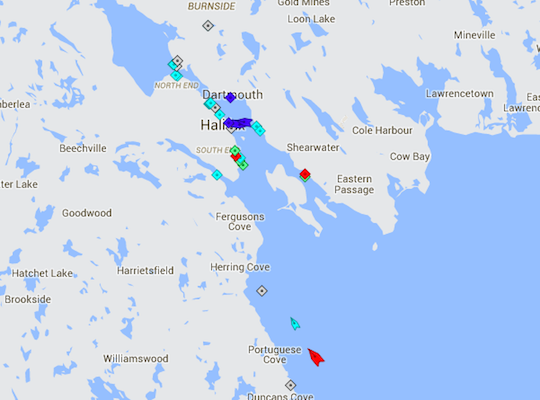 Halifax Harbour, 8:45am Monday. Map: marinetraffic.com