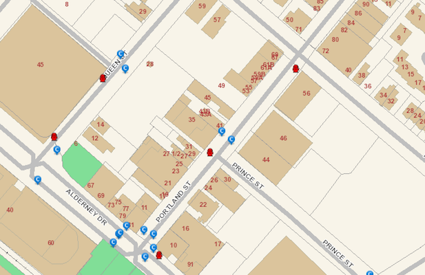 The city has published a terrorist handbook to help evil-doers destroy our city. This is a map of fire hydrants and storm basins in downtown Dartmouth. You're welcome, ISIS.