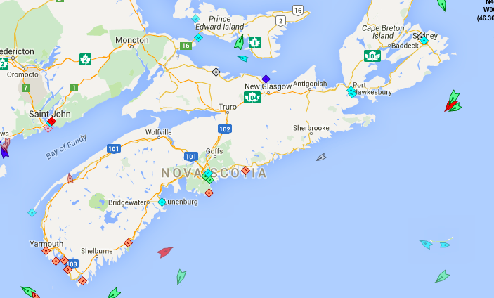 The seas around Nova Scotia, 8:30am Thursday. Map: marinetraffic.com