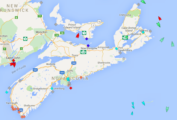 The seas around Nova Scotia, 8:30am Monday. Map, marinetraffic.com