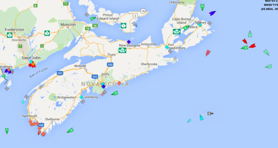 The seas around Nova Scotia, 8:50am Tuesday. Map: marinetraffic.com