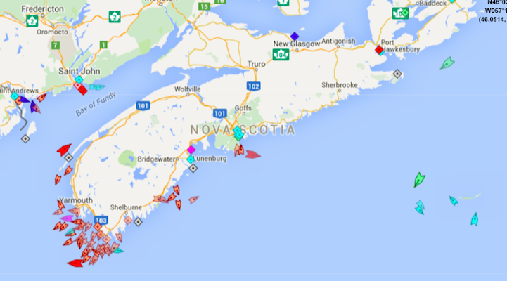 The seas around Nova Scotia, 8:45am Monday. The swarm of orange fishing boats on the southwest coast reveal that yesterday was the opening of lobster season. Map: marinetraffic.com