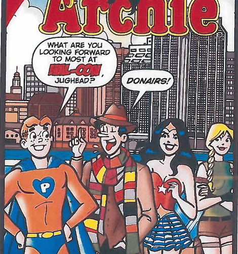 "Actual caption for this image from Global News: ""An Archie comic featuring the characters in Halifax, Nova Scotia excited to eat donairs was featured in the staff report on the Halifax Donair."""