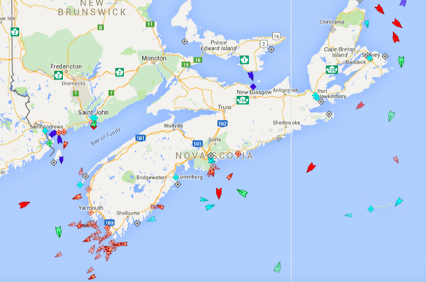 The seas around Nova Scotia, 8:30am Monday. Map: marinetraffic.com
