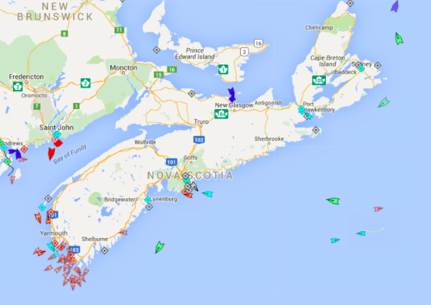 The seas around Nova Scotia, *;45am Wednesday. Map: marinetraffic.com