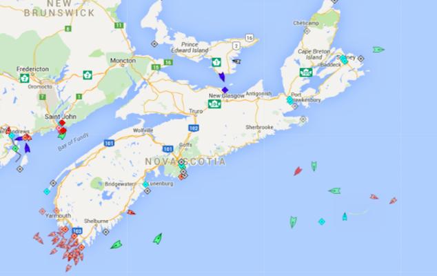 The seas around Nova Scotia, 8:20am Thursday. Map: marinetraffic.com