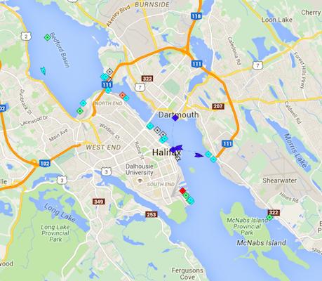 Halifax Harbour, 8:45am Tuesday. Map: marinetraffic.com