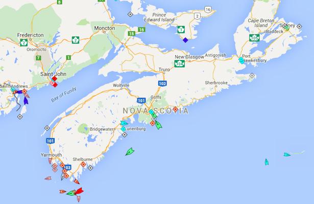 The seas around Nova Scotia, 8:15am Friday. Map: marinetraffic.com