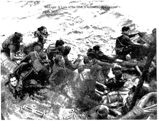 Survivors from the HMCS Clayoquot being picked up by the HMCS Fennel.