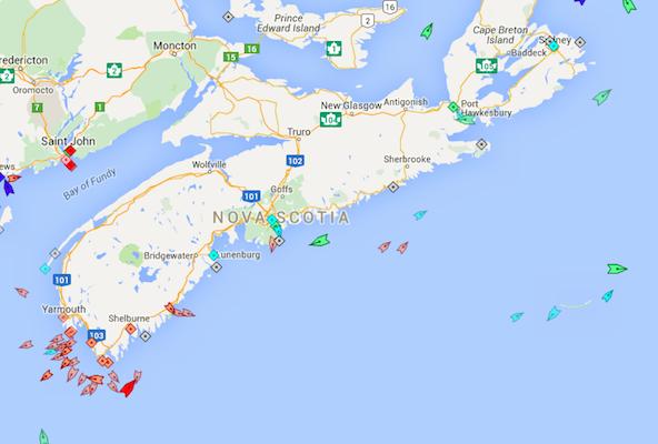 The seas around Nova Scotia, 8:45am Tuesday. Map: marinetraffic.com