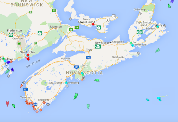 The seas around Nova Scotia, 8am Thursday. Map: marinetraffic.com
