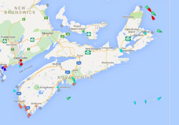The seas around Nova Scotia, 8:50am Monday. Map: marinetraffic.com