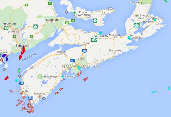 The seas around Nova Scotia, 8:30am Monday. Map: marinetraffic.com