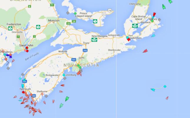 The seas around Nova Scotia, 8:45am Thursday. Map: marinetraffic.com