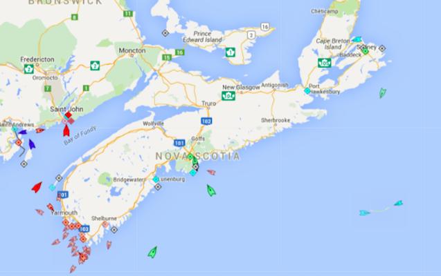 The seas around Nova Scotia, 8:30am Friday. Map: marinetraffic.com