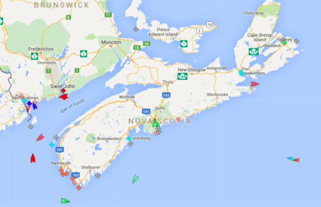 The seas around Nova Scotia, 8:45am Thursday. Map: marinetraffic.com