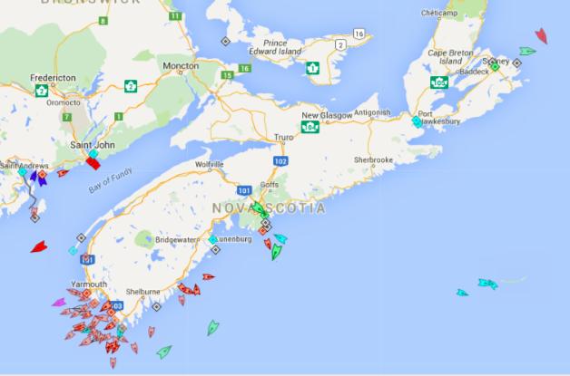 The seas around Nova Scotia, 8:45am Friday. Map: marinetraffic.com