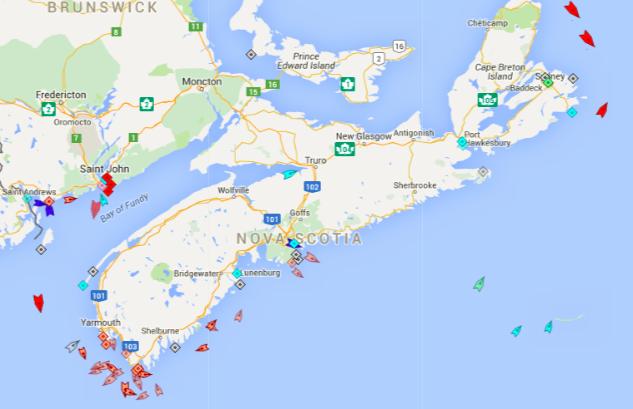 The seas around Nova Scotia, 8:45am Monday. Map: marinetraffic.com