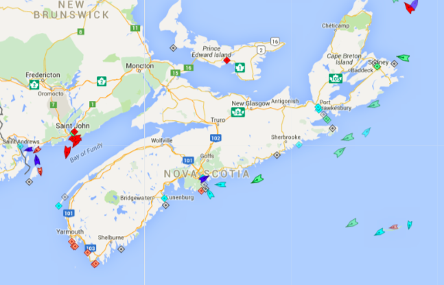The seas around Nova Scotia, 8:20am Tuesday. Map: marinetraffic.com