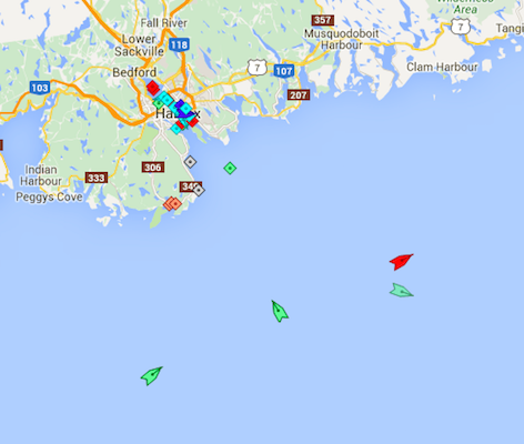 The approach to Halifax Harbour, 8:15am Wednesday. Map: marinetraffic.com