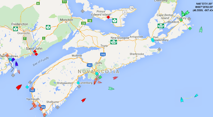 The seas around Nova Scotia, 8:25am, Friday. Map: marinetraffic.com