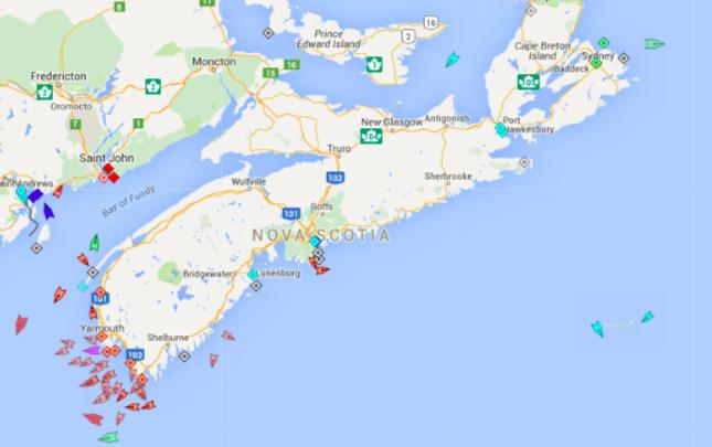 The seas around Nova Scotia, 8:25am Monday. Map: marinetraffic.com