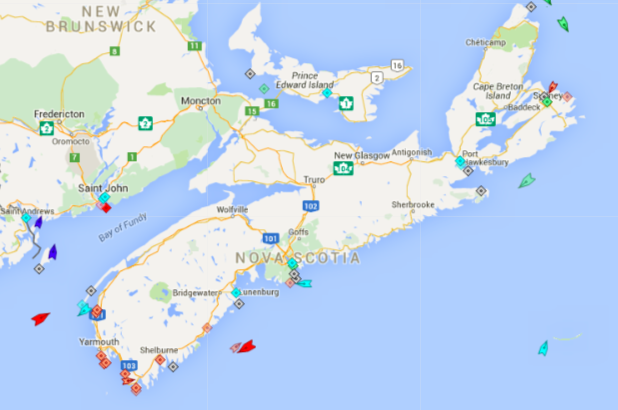 The seas around Nova Scotia, 7:45am Wednesday. Map: marinetraffic.com