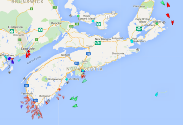 The seas around Nova Scotia, 8:30am, Thursday. Map: marinetraffic.com