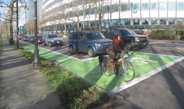 Proposed changes to the Motor Vehicle Act would include definitions of a bike box, though it would still be up to municipalities to actually build them. (Photo from nacto.org)