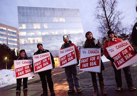 A few members of the Halifax Typographical Union's newsroom unit on the picket line last week in Halifax. Photo: Christian LaForce.