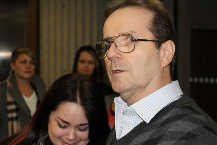 Glen and his daughter Tanya, outside the courtroom in Halifax after being released from custody in November 2014. Photo: Halifax Examiner