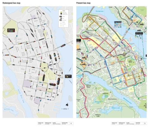Michelle Jospe's route map redesign, and the original from 2005.