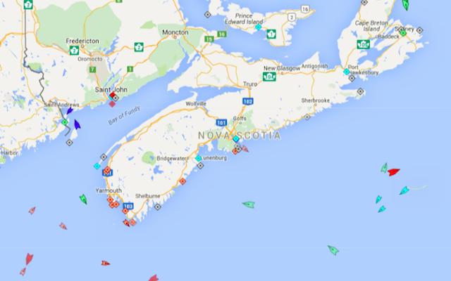 The seas around Nova Scotia, 8:15am Monday. Map: marinetraffic.com