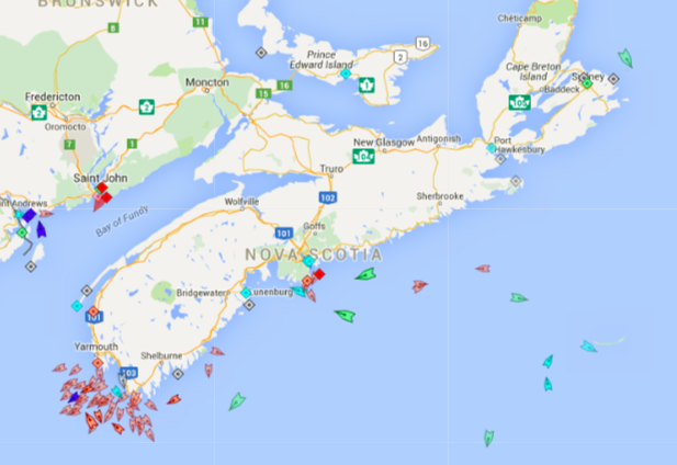 The seas around Nova Scotia, 8:30am Tuesday. Lots of fishing boats off Yarmouth. Map: marinetraffic.com