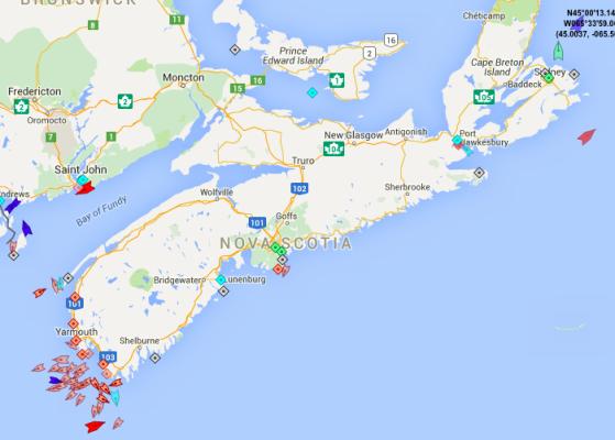 The seas around Nova Scotia, 8:05am Wednesday. Map: marinetraffic.com