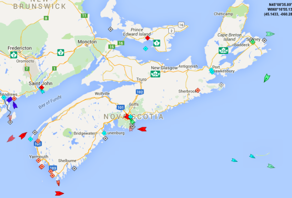 The seas around Nova Scotia, 8;30am Friday. Map: marinetraffic.com