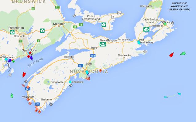 The seas around Nova Scotia, 8:30am Tuesday. Map: marinetraffic.com
