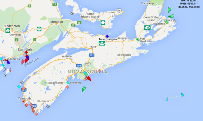 The seas around Nova Scotia, Thursday, 8:45am. Map: marinetraffic.com