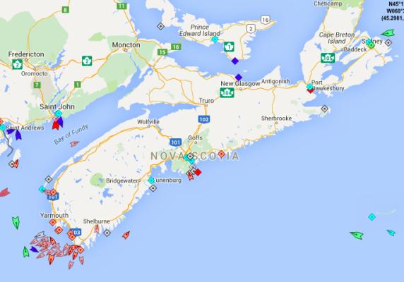 The seas around Nova Scotia, 8:40am Tuesday. Map: marinetraffic.com