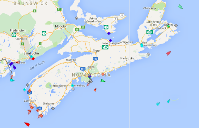 The seas around Nova Scotia, 8:30am Friday. Map: marinetraffic.com
