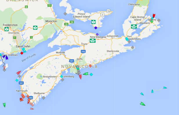 The seas around Nova Scotia, 8:40am Wednesday. Map: marinetraffic.com